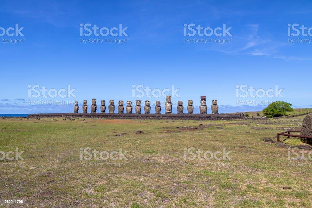Moai Statues of Ahu Tongariki - Easter Island, Chile foto de stock royalty-free