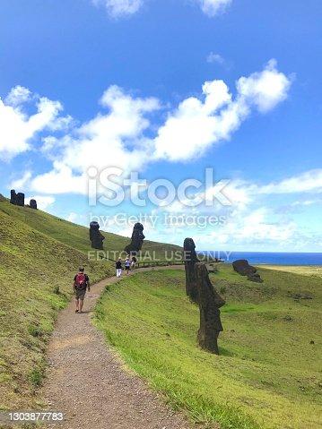 istock Moai statues on Easter Island, Rapa Nui, Chile, Latin America 1303877783