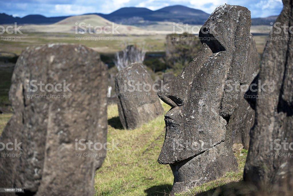 Moai Statues royalty-free stock photo