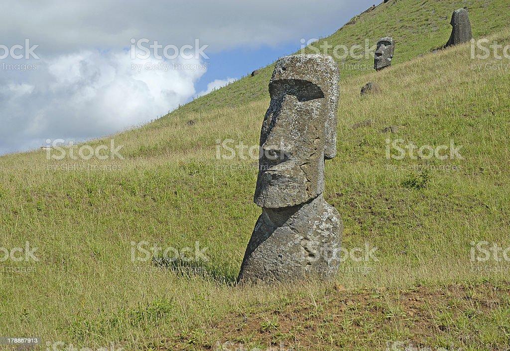 Moai Stone Statue at Rapa Nui - Easter Island, Chile stock photo