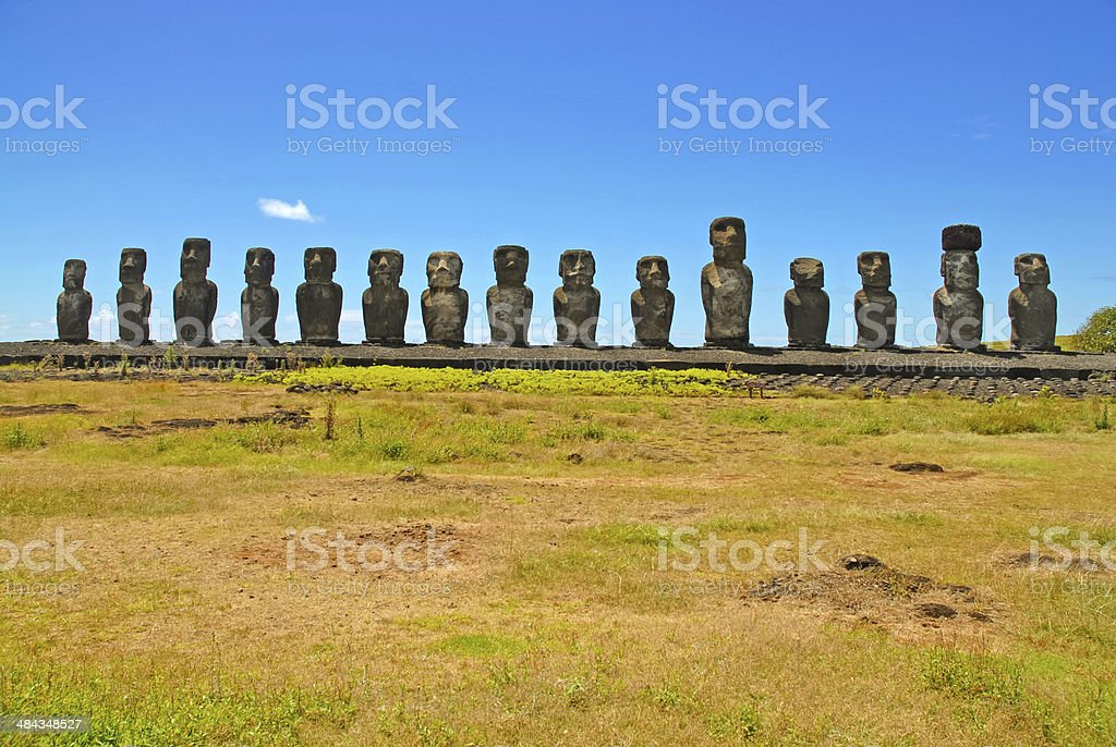 Moai Stone Statues at Easter Island, Polynesia, Chile royalty-free stock photo