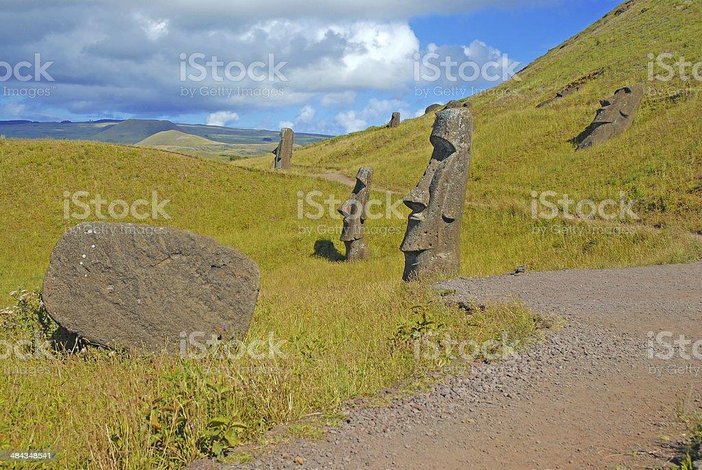 Moai Stone Statues at Rapa Nui - Easter Island, Chile royalty-free stock photo