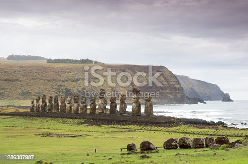istock Moais at Ahu Tongariki, largest ahu at Easter Island, Rapa Nui 1286387987