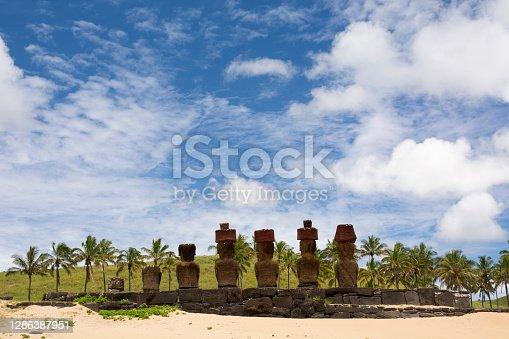 istock Moais at Anakena Beach, Easter Island, Rapa Nui 1286387951