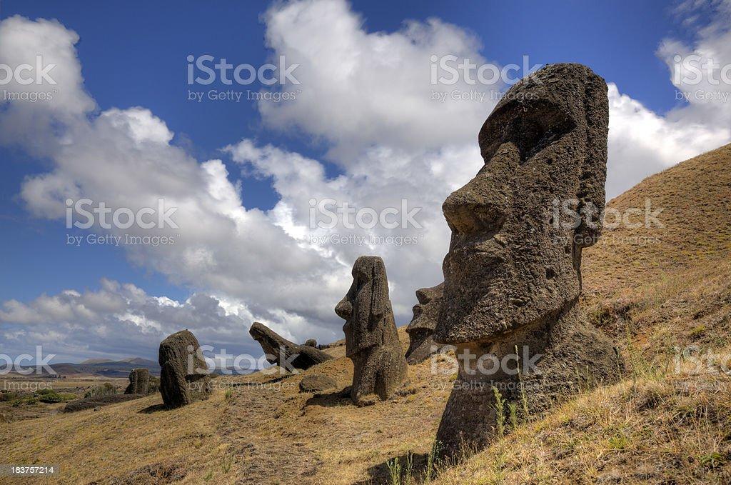 Moais at Rano Raraku Volcano royalty-free stock photo