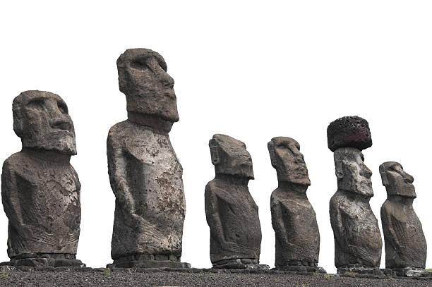 Moais in Ahu Tongariki, Easter island (Chile) stock photo