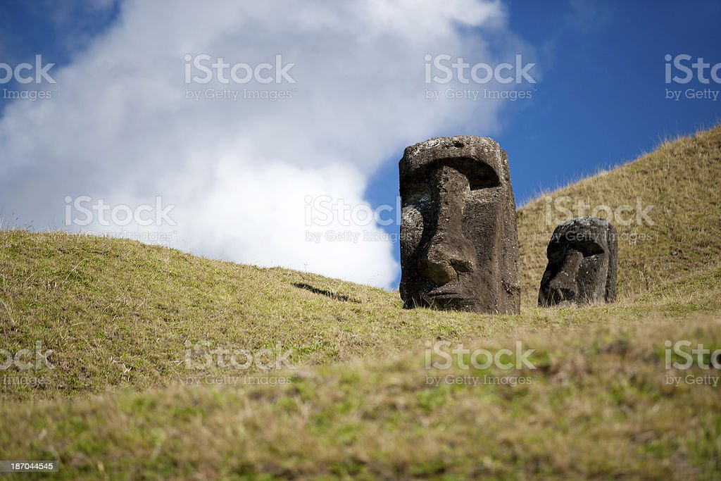 Moais in the Slope royalty-free stock photo