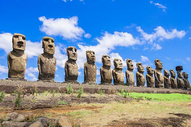 Moais of Ahu Tongariki, Easter island (Chile) stock photo