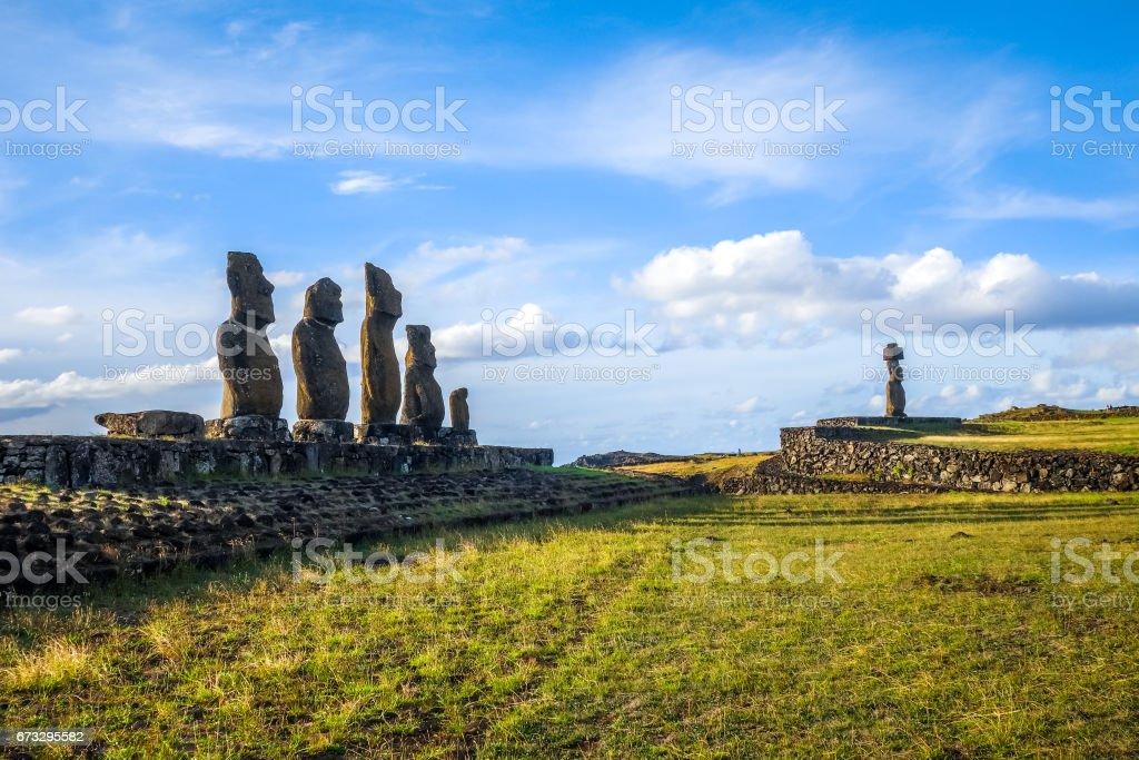 Moais statues, ahu ko te riku, easter island stock photo