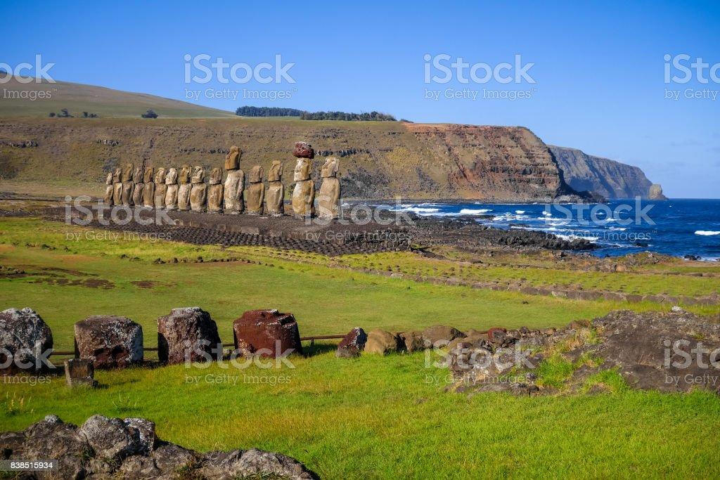 Moais statues, ahu Tongariki, easter island stock photo