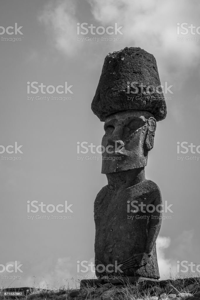 Moais statues site ahu Nao Nao on anakena beach, easter island. Black and white picture stock photo