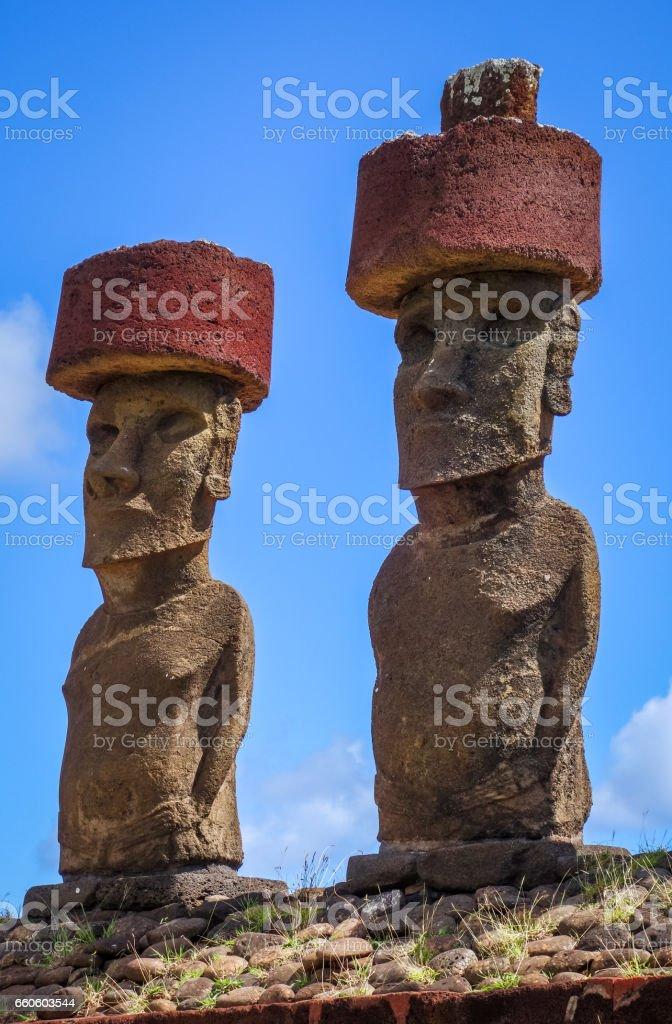Moais statues site ahu Nao Nao on anakena beach, easter island royalty-free stock photo