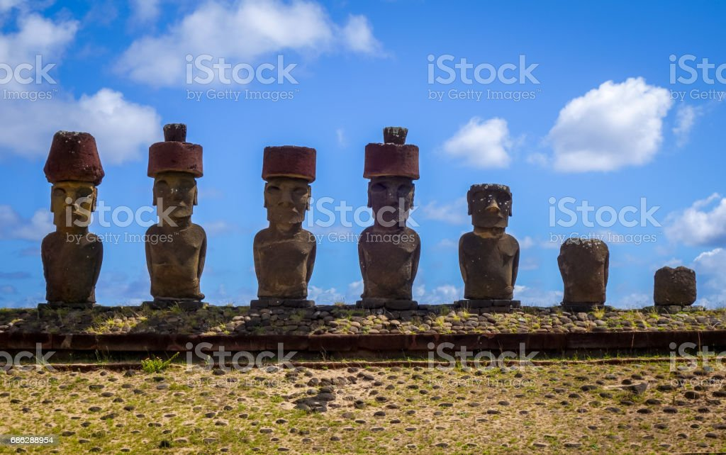 Moais statues site ahu Nao Nao on anakena beach, easter island stock photo