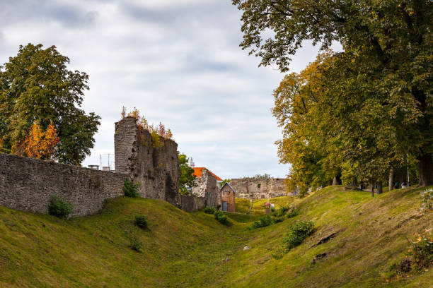 Moat and ruins of the medieval episcopal castle of Haapsalu, Estonia stock photo