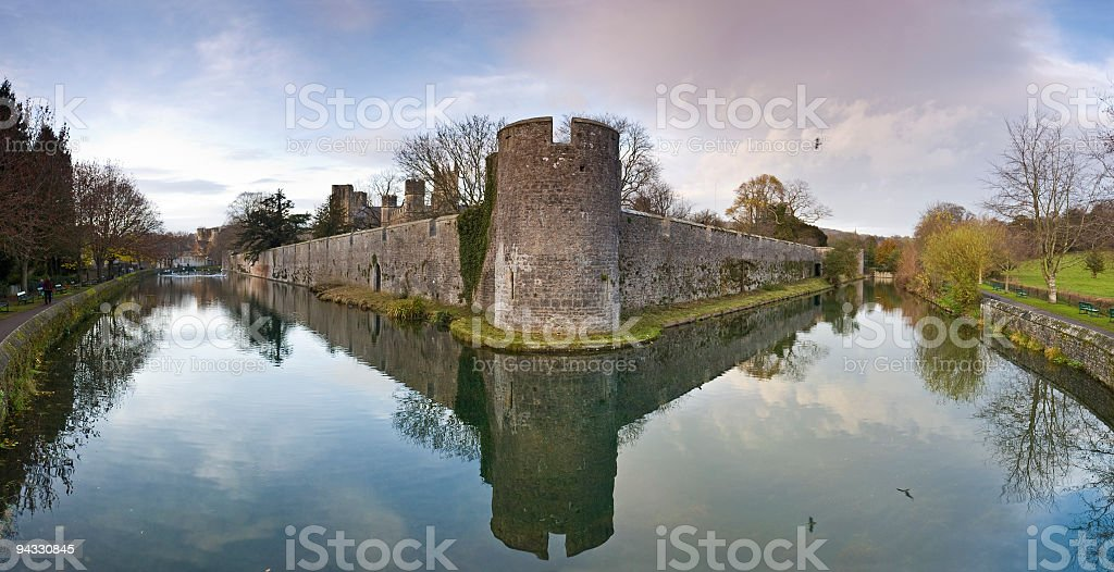 Moat and walls, Wells, UK stock photo