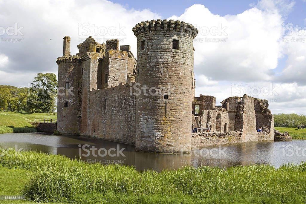 Moated Caerlaverock Castle, Scotland, stock photo