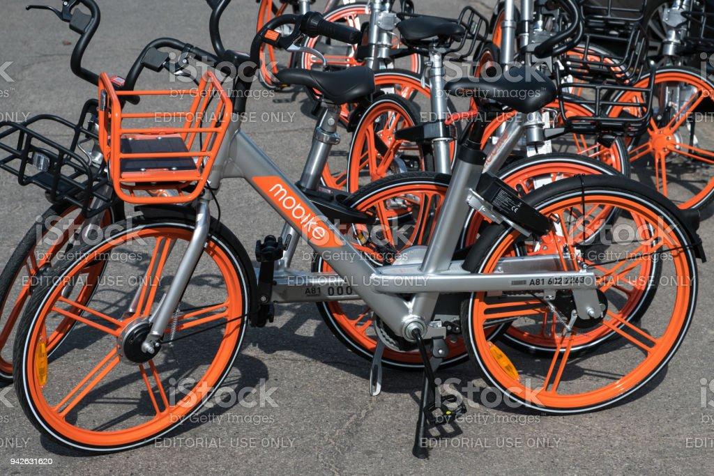 MOBIKE vélos.  MOBIKE est un vélo partage système dont le siège est à Beijing, Chine - Photo