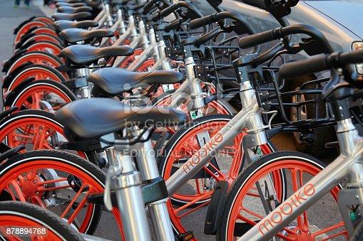 istock Mobike free floating bicycles, bike sharing in Milan 878894768