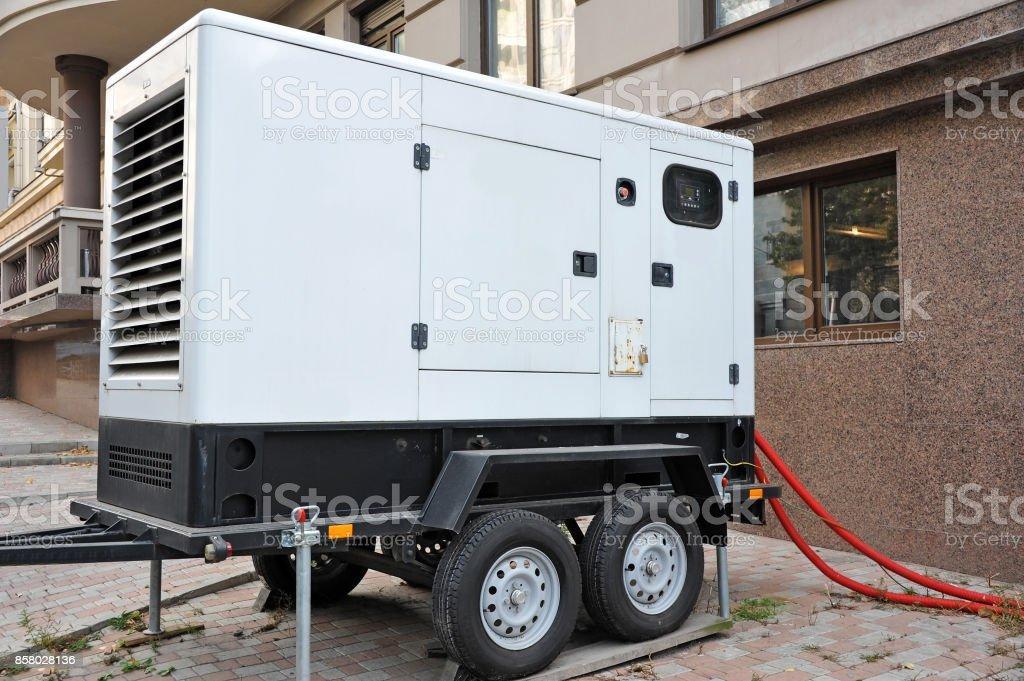 Mobil electric generator. stock photo