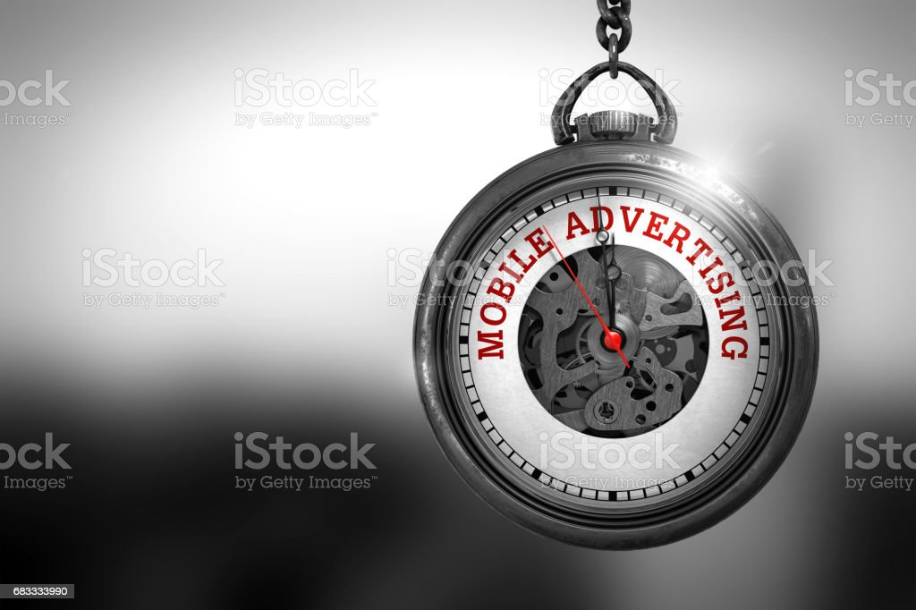Mobile Advertising on Watch Face. 3D Illustration royalty-free stock photo