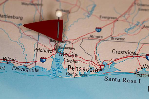 Mobile, AL, USA - Cities on Map Series stock photo