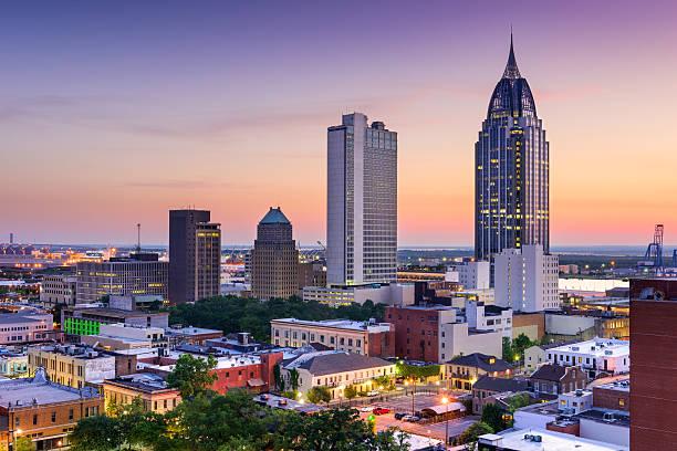 Mobile Alabama Skyline Mobile, Alabama, USA downtown skyline. alabama stock pictures, royalty-free photos & images