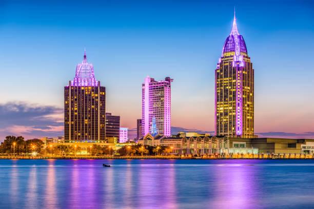 Mobile, Alabama, USA Mobile, Alabama, USA skyline on the river. alabama stock pictures, royalty-free photos & images