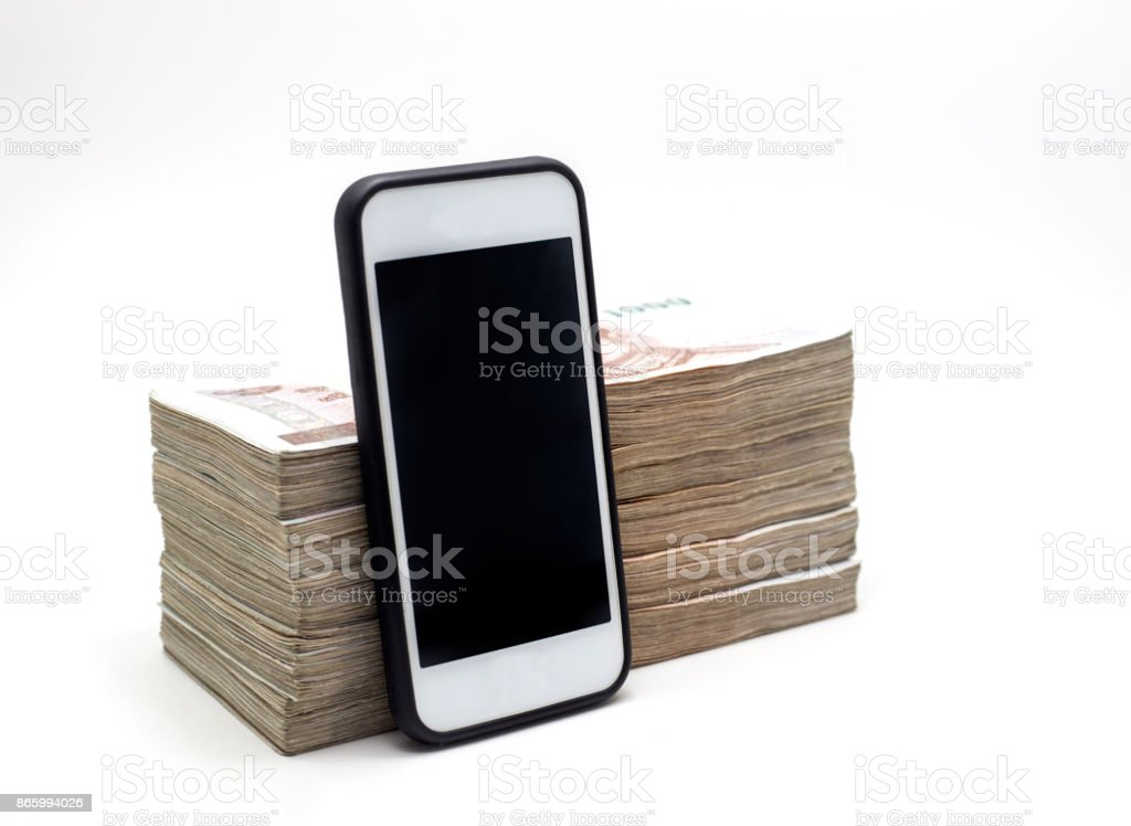 mobile and money note stock photo