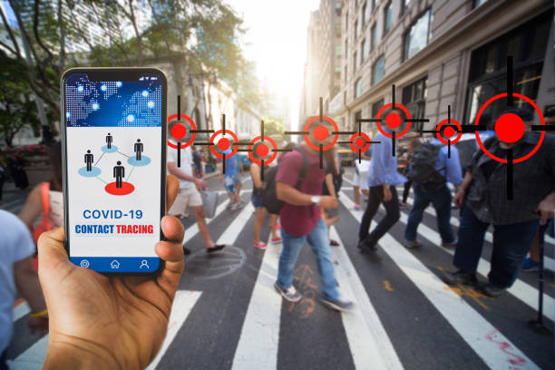 Mobile APP contact tracing adopted by national Governments to stop Covid-19 pandemic stock photo