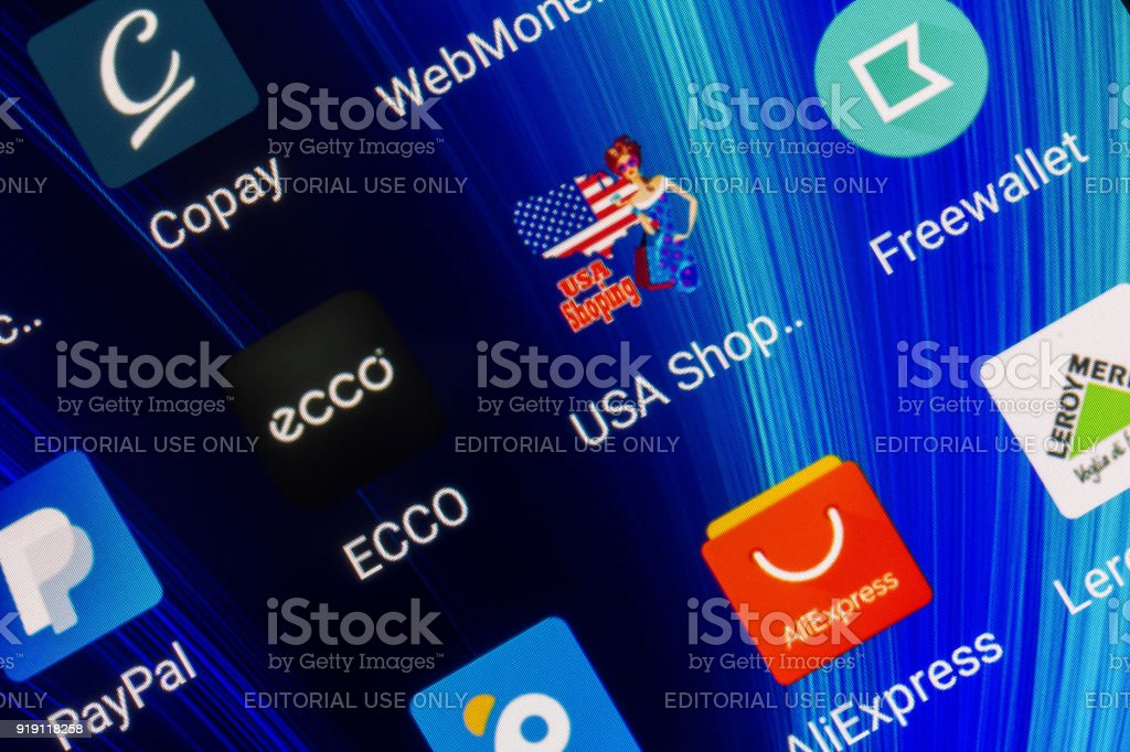 mobile app for online shopping at popular shop ECCO, USA shopping, aliexpress, Leroy Merlin and e-payment system PayPal on the smartphone screen