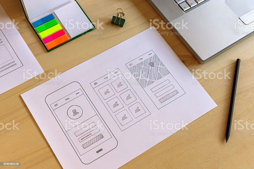 Mobile app prototype stock photo