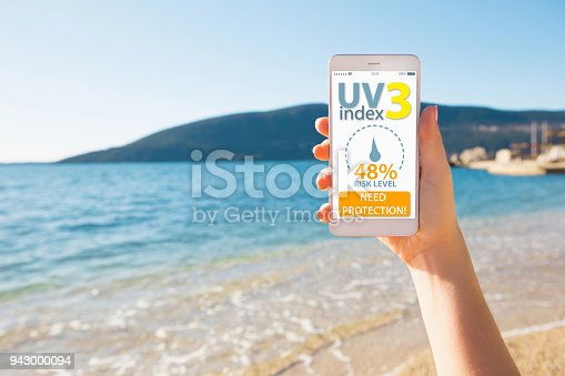 istock Mobile application for determining the level of ultraviolet radiation 943000094