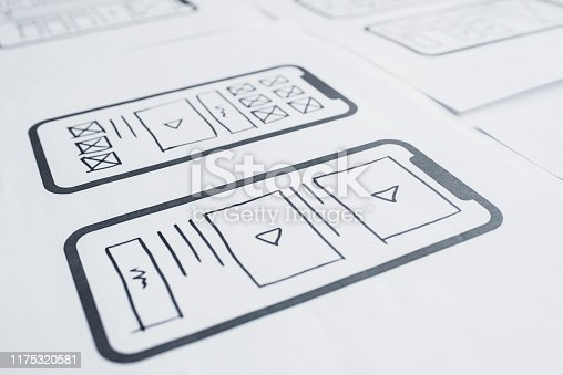 UX mobile application wireframe. Sketch, prototype, framework, layout future app design project. UI/UX - user interface and user experience designer. Creative concept for smartphone. App development