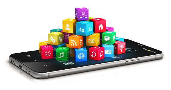 모바일 애플리케이션 및 인터넷 컨셉입니다 3차원 형태에 대한 스톡 사진 및 기타 이미지
