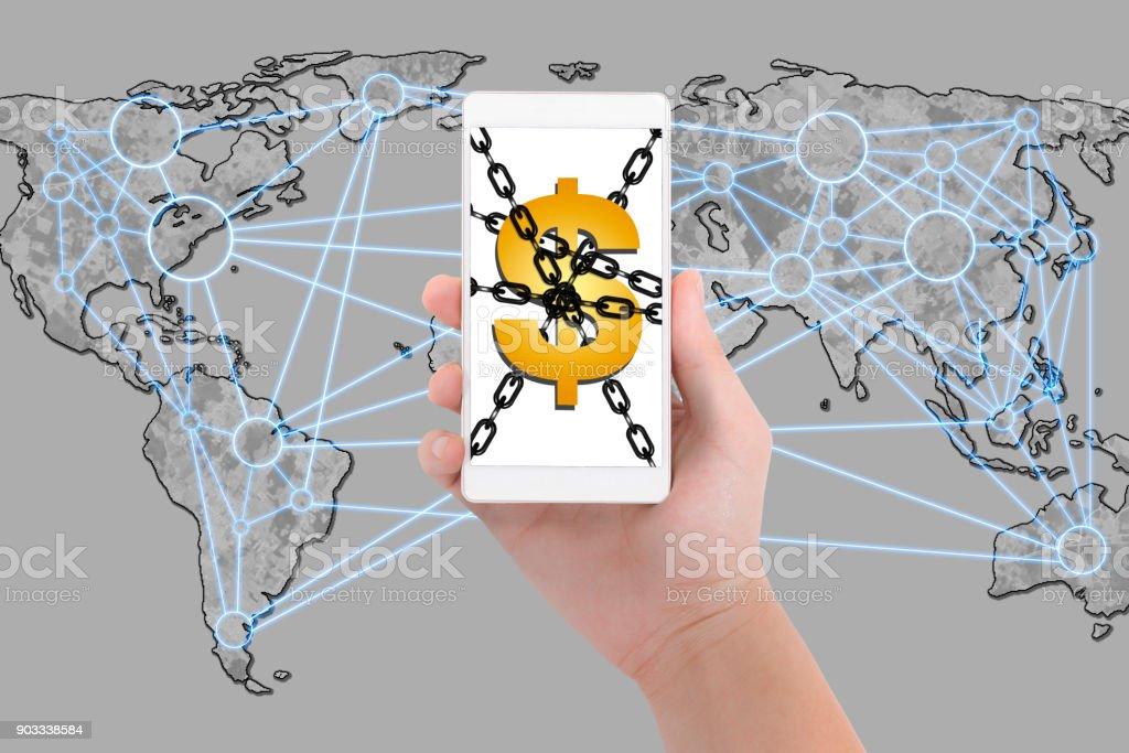 Mobile Bank mit Blockchain-system – Foto