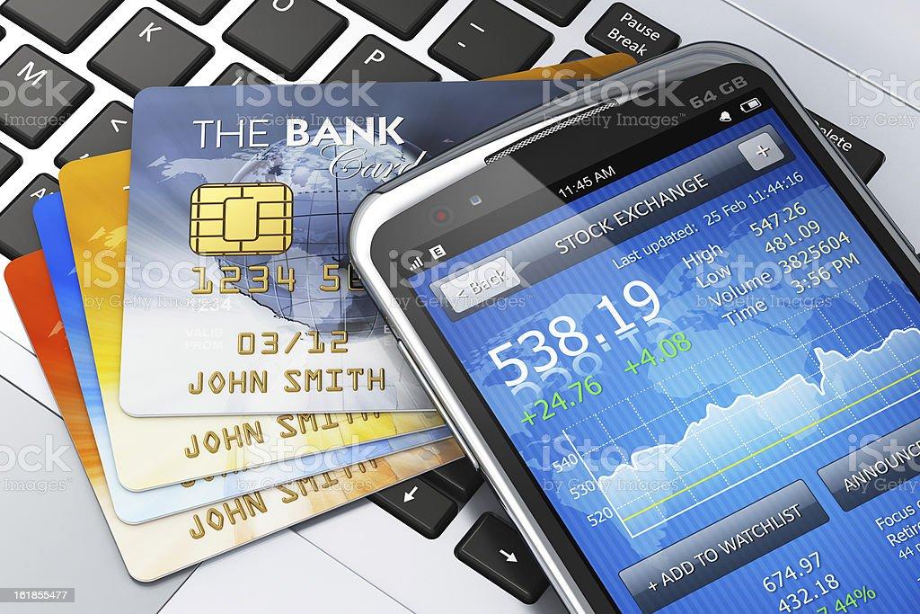 Mobile banking and finance concept http://dl.dropbox.com/s/411sgflctjdsm6b/Mob_s.jpg Bank - Financial Building Stock Photo