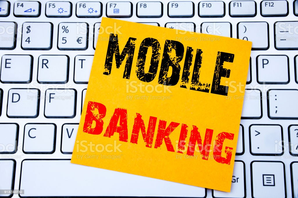 Mobile Banking. Business concept for Internet Banking e-bank written...