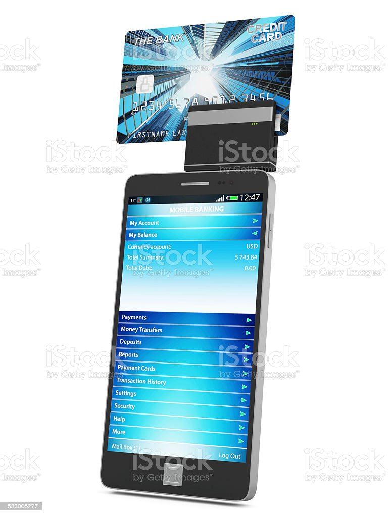 Mobile Banking and Payment Concept. Touchscreen Smart Phone with...