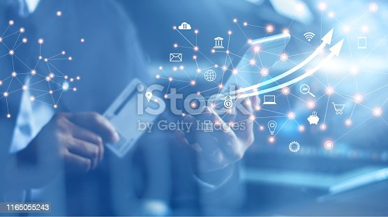 istock Mobile banking network, online payment, digital marketing. Business people using mobile phone with credit card and icon network connection on dark blue virtual screen background, business technology. 1165055243