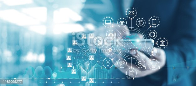 istock Mobile banking network, online payment, digital marketing. Business people using mobile phone with credit card and icon network connection on dark blue virtual screen background, business technology. 1165055277