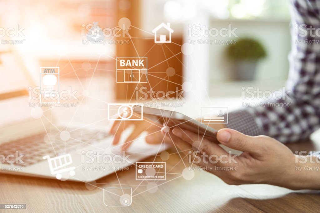 mobile banking network stock photo
