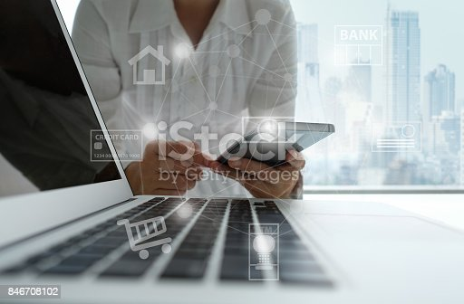 846708102 istock photo mobile banking network 846708102