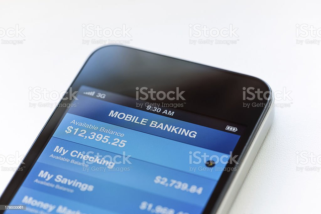 Mobile banking on phone stock photo