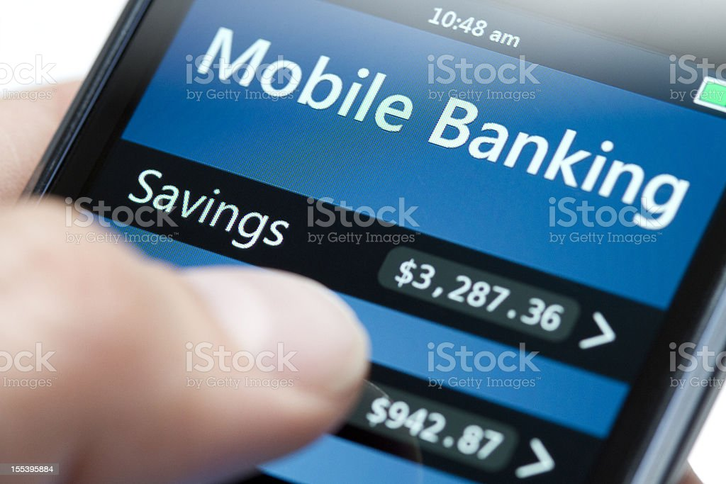 Mobile Banking on Smartphone Close-up - Dollar stock photo