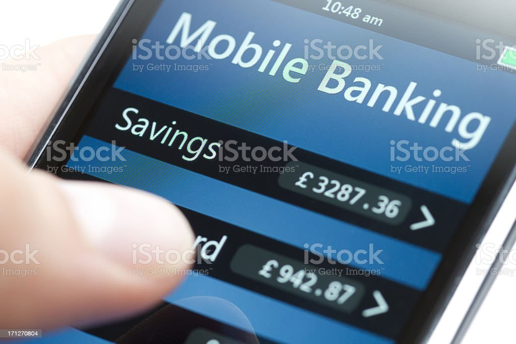 Mobile Banking on Smartphone Close-up - Pound royalty-free stock photo
