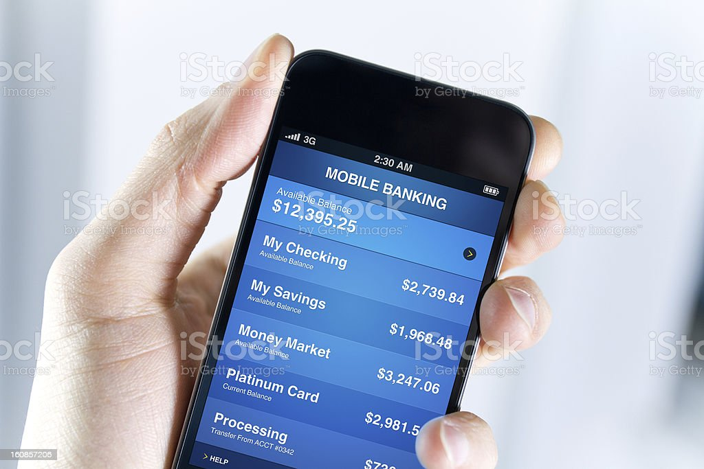 Mobile Banking On Smartphone stock photo