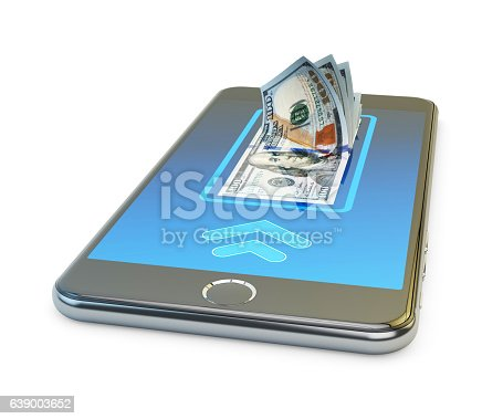 istock Mobile banking online payment, wireless money transfer and e-wallet concept 639003652