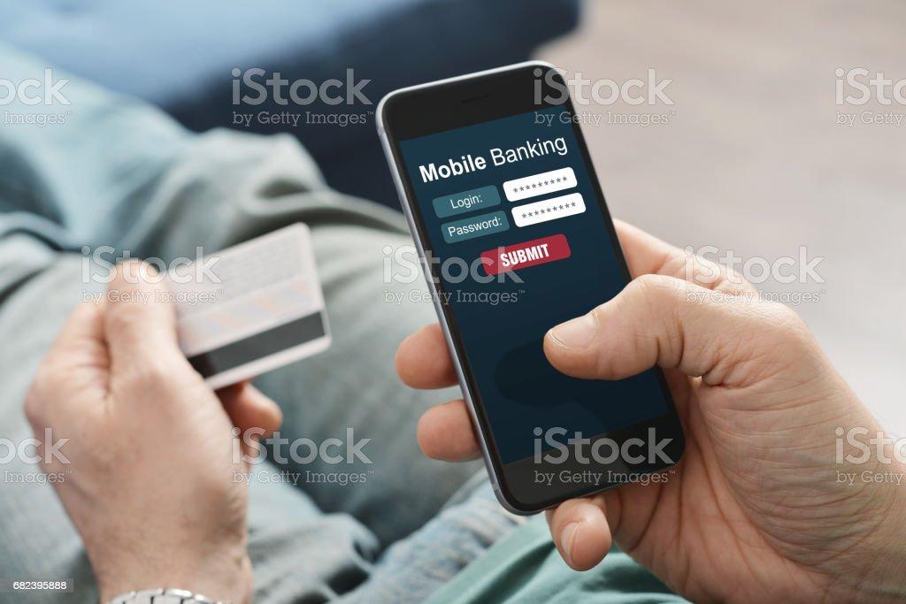 Mobile banking stock photo