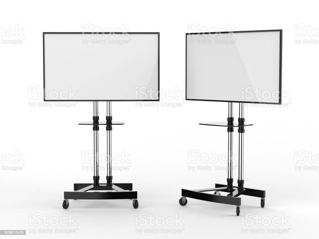 Mobile Blank White Screen TV Trolley Stand Mount Cart Exhibition LED Advertising Display. 3d render illustration. foto stock royalty-free
