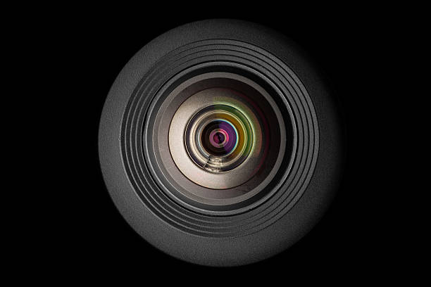 mobile camera lens on black background - webcam stock photos and pictures